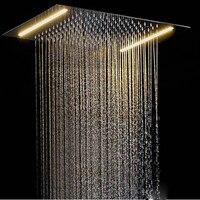 Потолочная контура светодиодный Светодиодный душевая головка для кран для душа для ванной свет 500*360 мм дождь pommeau douche спа Встроенный Настен