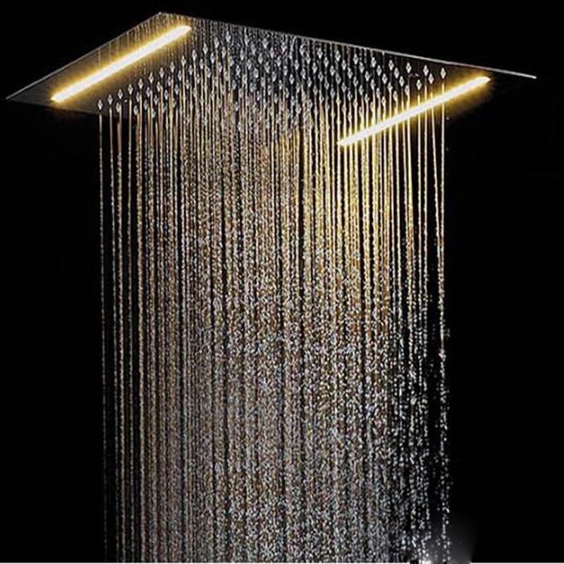 Tête de douche de plafond LED LED pour robinet de salle de bain lumière de douche 500*360mm pommeau de pluie douche SPA intégré mural