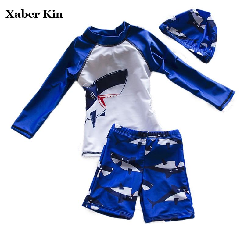 New 2018 Boys Cartoon Sports Bathing Suits Children Kids Swimsuit For Boys 3pcs Swimwear Beachwear Sporting Beachwear G14-K51