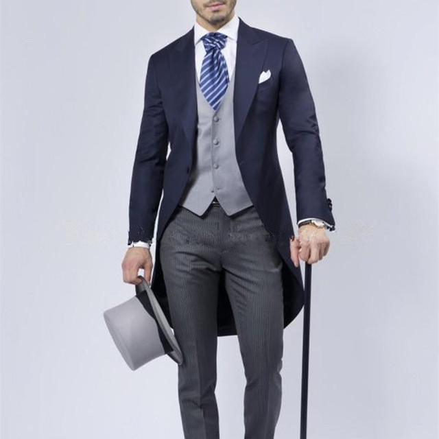 Grey Men Blazer Tailcoat Groomsman Long S Wedding Suit Suits Homens Blue Groom Mens