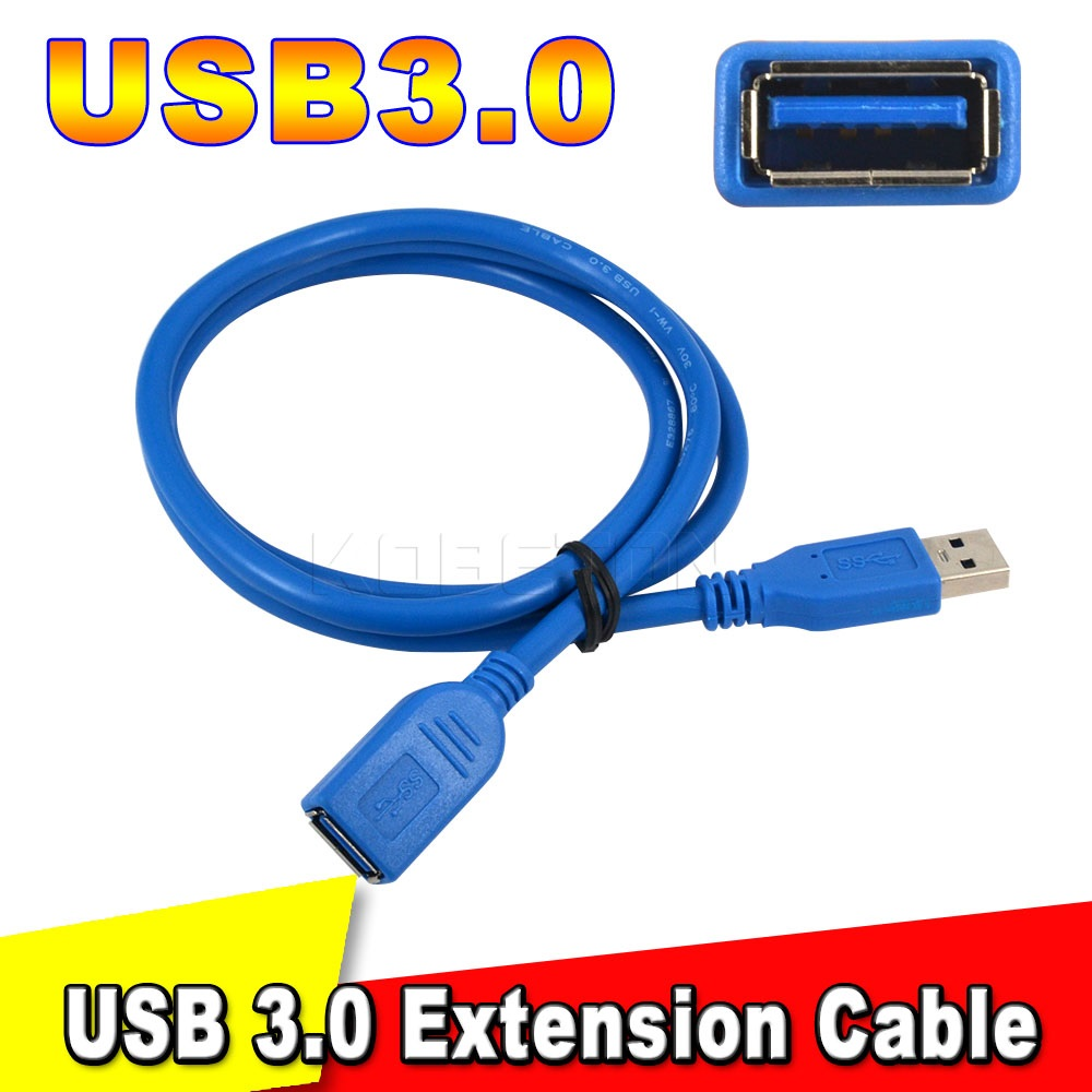 Universal Blue Super Speed USB 3.0 Extension Cable 1m High Speed M/F Male To Female Wire Extension data Connector Adapter