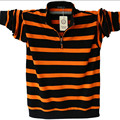 Camisa Pólo de Manga Longa para homens Plus Size Listrado Gola POLO de algodão Camisas Casual Mens Lapela Polo 4XL/5XL A1109