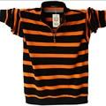 Camisa de Polo de Manga Larga de los hombres Más El Tamaño de Rayas de Cuello de Pie POLO de algodón Camisas Casuales Para Hombre de La Solapa Polo 4XL/5XL A1109