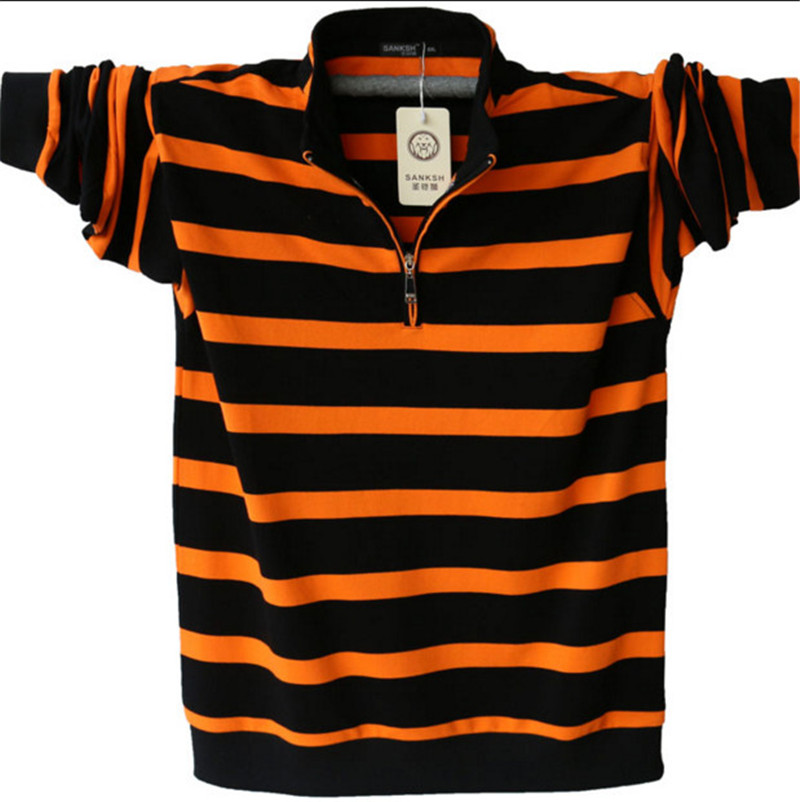 Men's Long Sleeved Poloshirt Plus Size Striped Stand Collar Cotton Shirts Men Casual Mens Lapel   Polos   4XL / 5XL A1109