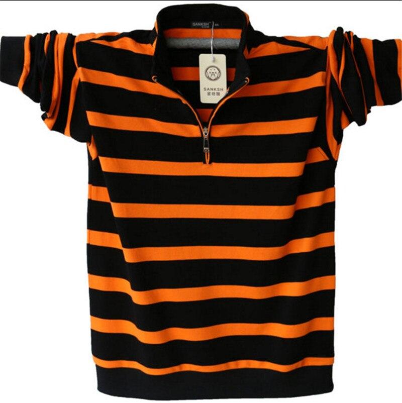 Men's Long Sleeved   Polo   Shirt Plus Size Striped Stand Collar Cotton   POLO   Shirts Casual Mens Lapel   Polo   4XL / 5XL A1109