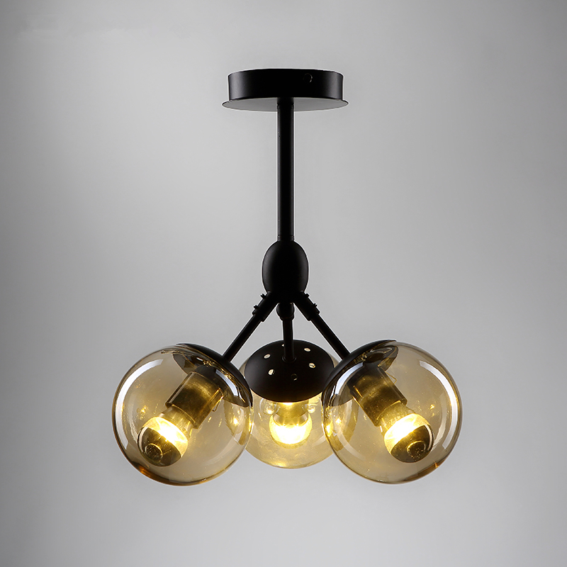 Postmodern glass LED chandelier home deco lighting Nordic fixtures living room hanging lights retro bedroom pendant