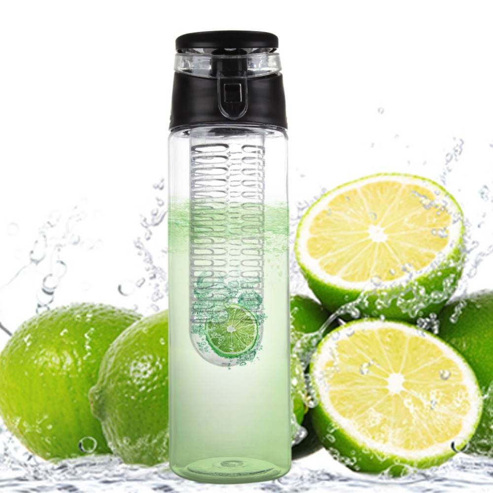 New 2018 800ML Red cap Fruit Infusing Infuser Water Bottle with box Sports Health Lemon Juice Make Bottle for kitchen table Camp