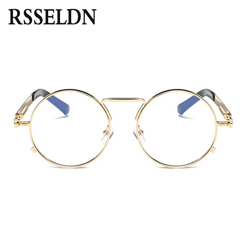 103c84151 RSSELDN عالية الجودة الذهبي جولة إطارات النظارات النساء العلامة التجارية  النظارات الإطار الرجال واضح عدسة الرجعية الكلاسيكية نظارات oculos في RSSELDN  عالية ...