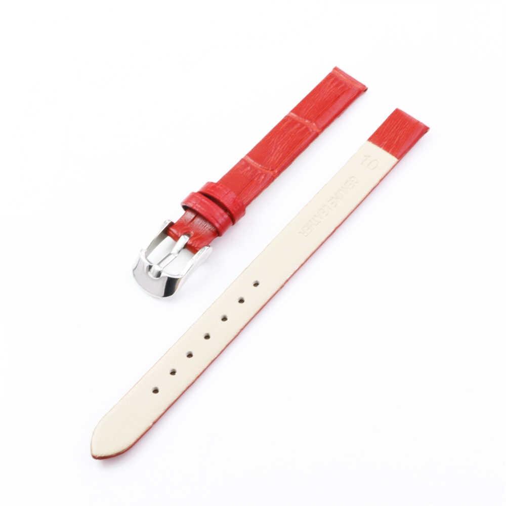 Cara Deng Bermerek Baru Wanita Kulit Asli Watchband Perak Pin Gesper Biru Coklat Merah Putih Tali 10 Mm Tali -Y163