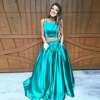 Green Formal Evening Gown Satin A Line Two Piece Set Vestidos de Festa Floor Length Dress for Wedding Party
