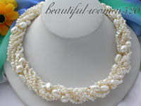 Z3428 8row 20 white baroque freshwater pearl necklace