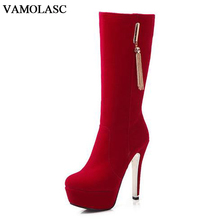 VAMOLASC New Women Autumn Winter Warm Faux Suede Mid Calf Boots Sexy Tassels Thin High Heel Boots Platform Zipper Women Shoes