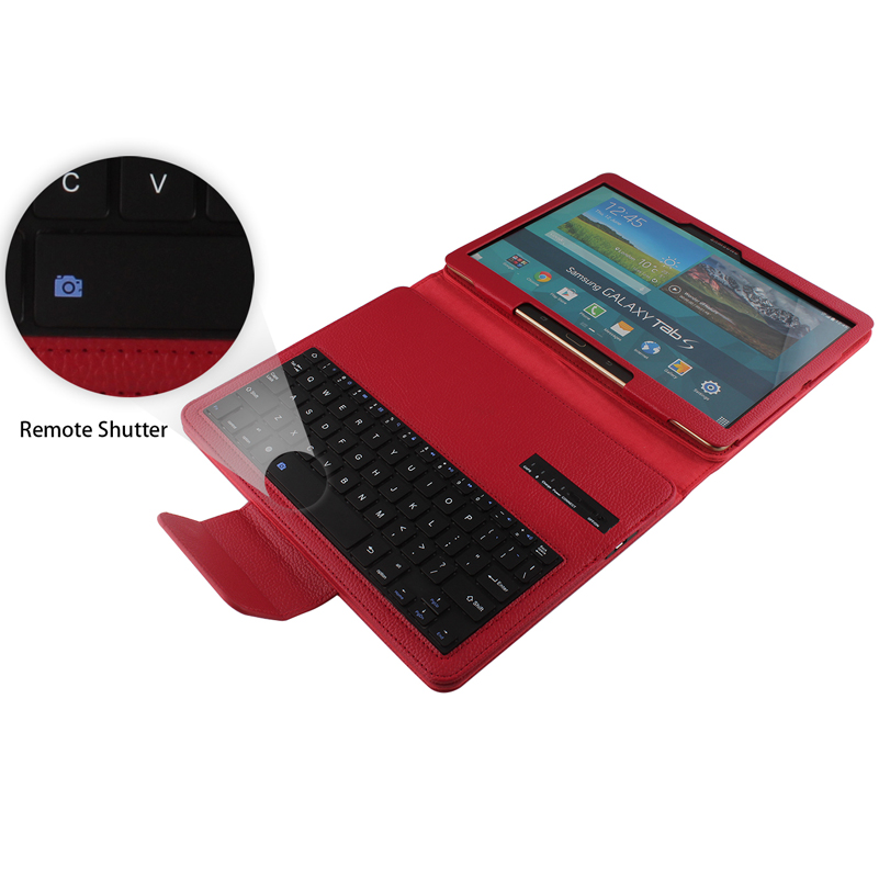 Wireless Bluetooth Keyboard Removable Case For Samsung Galaxy Tab S 10.5 T800 T801 T805 Russian/Hebrew/Spanish Stand PU Tablet