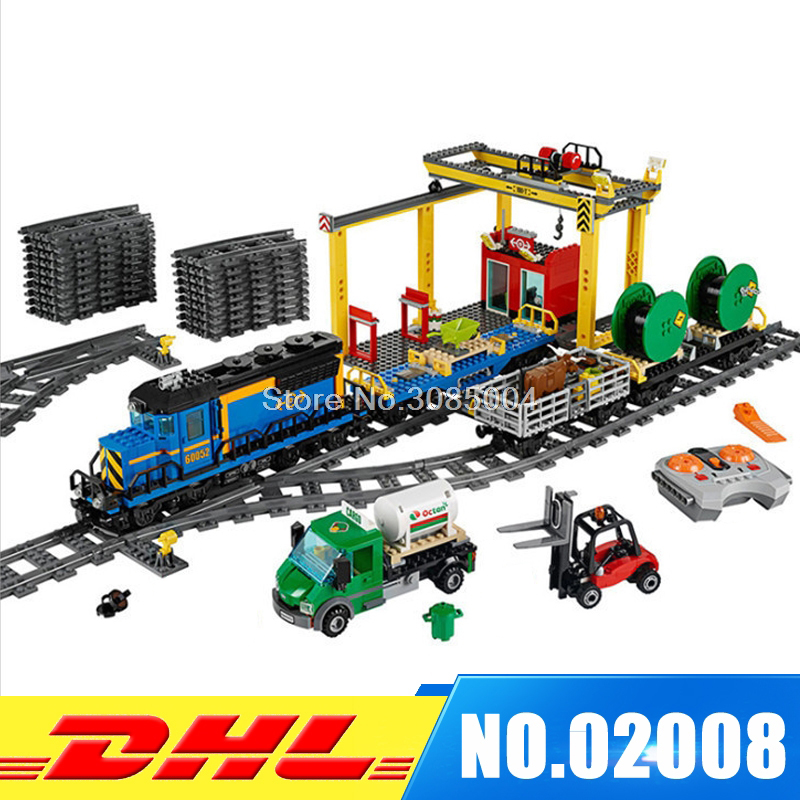 Lepin 02008 City Explorers Cargo Train DIY assembly Blocks Lepin car Bricks educational Toys for children Model 60052 lepin 02008 the cargo train 959pcs city series legoingly 60052 plate sets building nano blocks bricks toys for boy gift