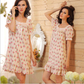 2017 Brand Sleep Lounge Women Sleepwear Cotton Floral Print Nightgowns Sexy Home Dress White Nightdress Plus Size #P6