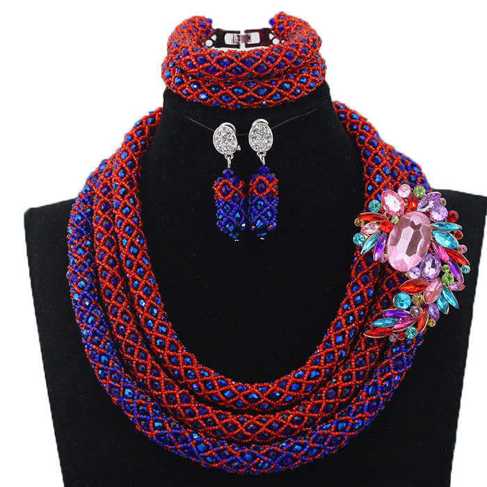 Vintage Blue/Red Beads Jewelry Set 2 Layers Statement Necklace Set Indian Bridal Jewelry Set Party Gift Free Shipping HX633Vintage Blue/Red Beads Jewelry Set 2 Layers Statement Necklace Set Indian Bridal Jewelry Set Party Gift Free Shipping HX633