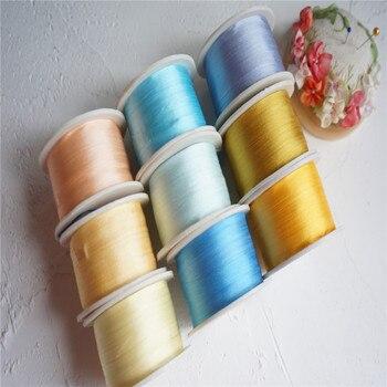 7mmX10m/roll 9roll solid colors of  100% pure silk embroidery ribbon thin taffeta high quality silk ribbon Anya Ribbon Handcraft