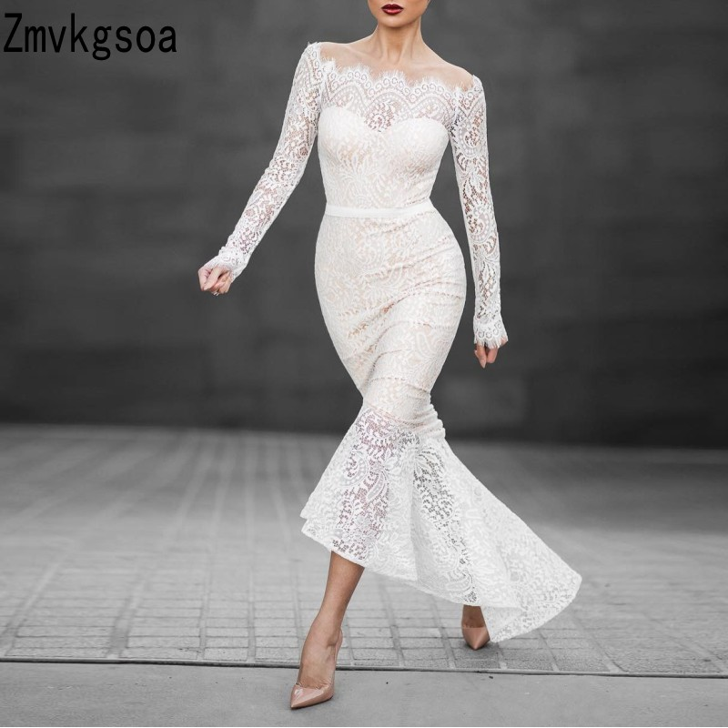 Zmvkgsoa 2018 Chic Graceful Lace Long Sleeves Sexy Off The Shoulder Dress Women Mermaid Long Dresses For Girls Vestidos N070 ...