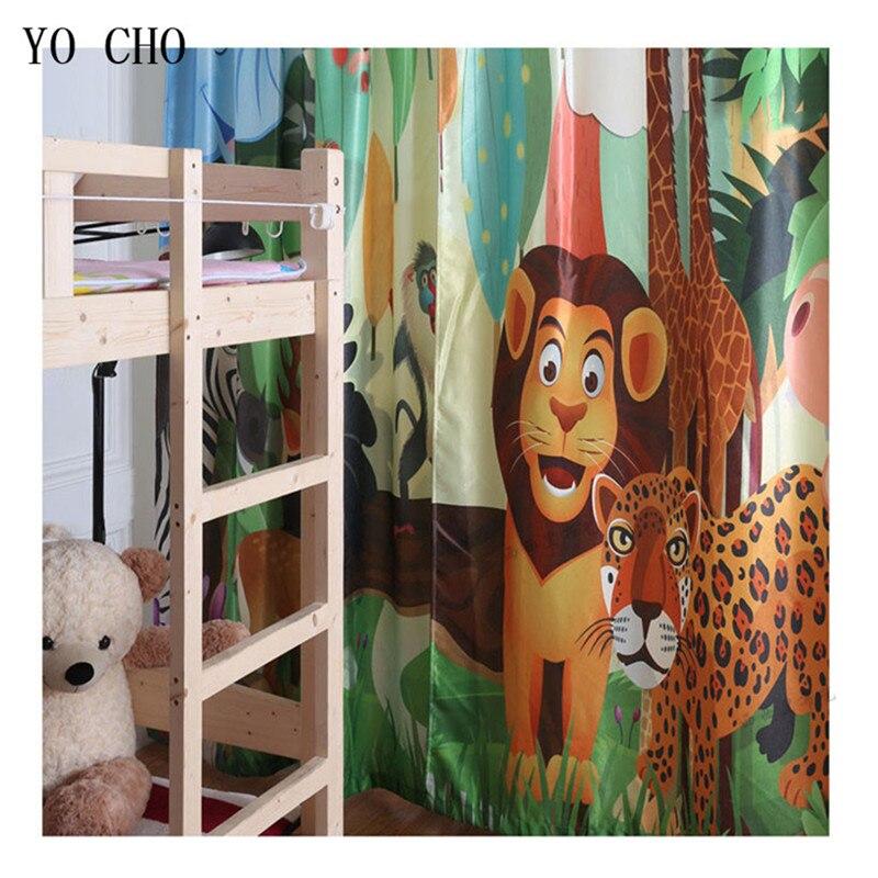 YO CHO cartoon animali tigre leone cervo finestra tende per la camera dei bambini stile Europeo e Americano soggiorno tende oscuranti - 6