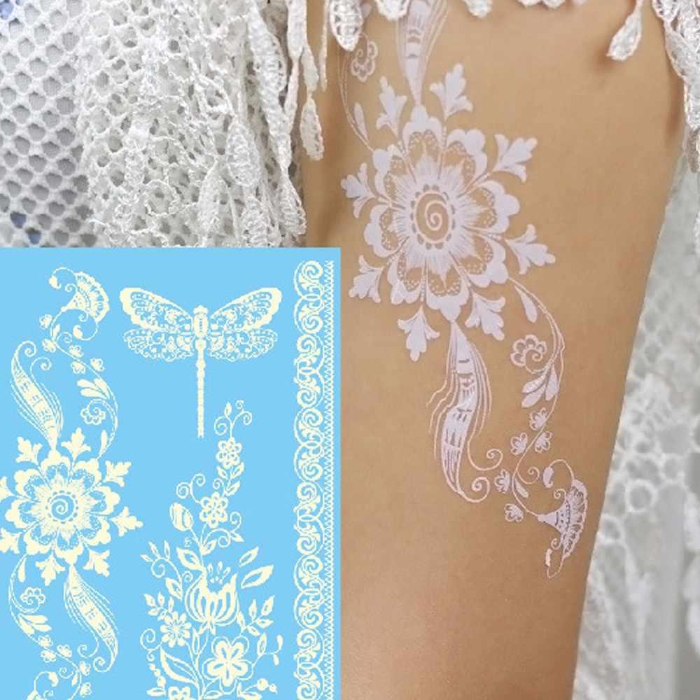الأبيض المرأة زهرة الوشم ملصق الفن نقل العديد من التصاميم الملونة فستان بتصميم حالم حزب الشفاه ماكياج لون عشوائي