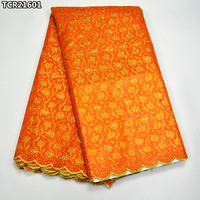 TCR216 Orange and gold African Swiss voile lace fabric high quality Swiss lace Nigerian dry lace fabric 5 yards for dresses