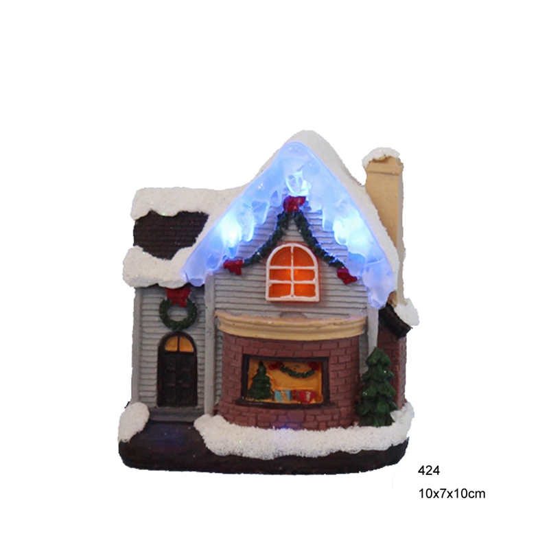 4 Flashing led decoration ice lights,Christmas decoration paper mache/polyresin house