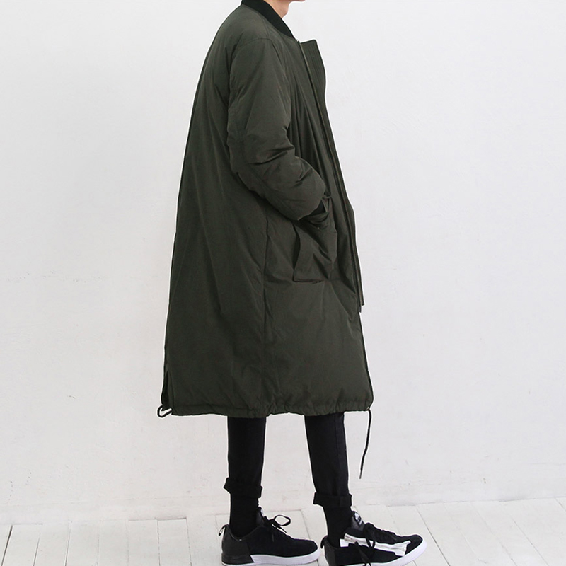 In the long winter thick warm jacket army green collar loose male Japanese big cotton padded clothes cotton coat.
