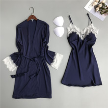 MECHCITIZ silk robe for women sexy summer bathrobe lace nightgown nightwear female sleepwear dress lingerie satin lounge set
