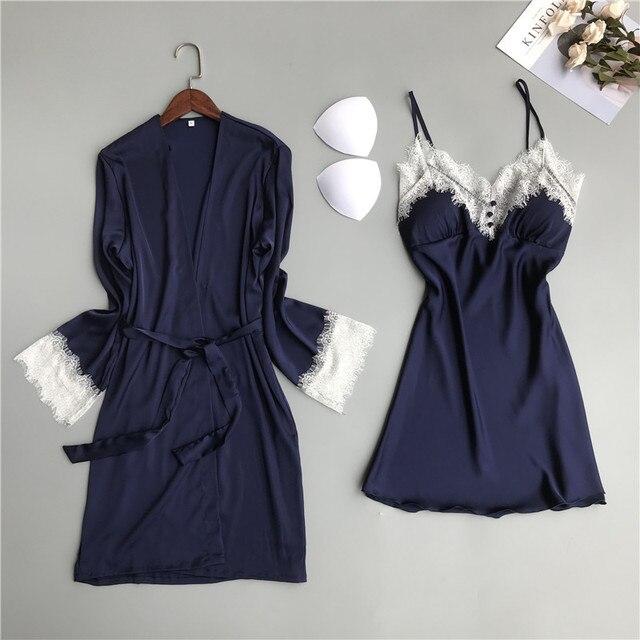 MECHCITIZ silk robe for women sexy summer bathrobe lace nightgown nightwear female sleepwear dress lingerie satin lounge set