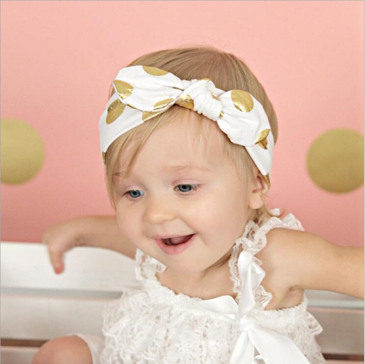1 Pieces New Cute Baby Headband Bronzing Knot Elasticity Hair Headband 100% Cotton Tie a Knot Kids Hair Accessories KT022