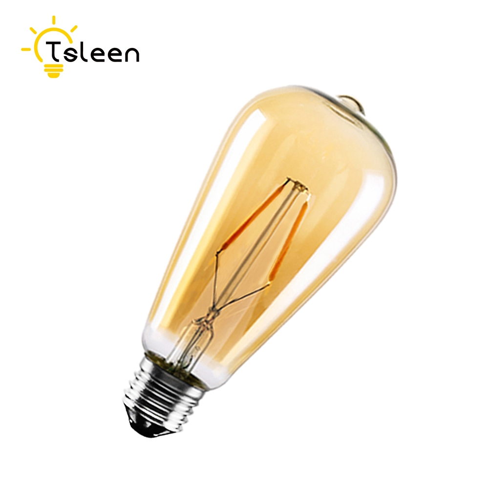 TSLEEN Lampada de led 110V 220V 1Piece Retro E27 4/8/12/16W Edison Filament Bulb Gold/Transperent LED Light ST64 Drop Lamp