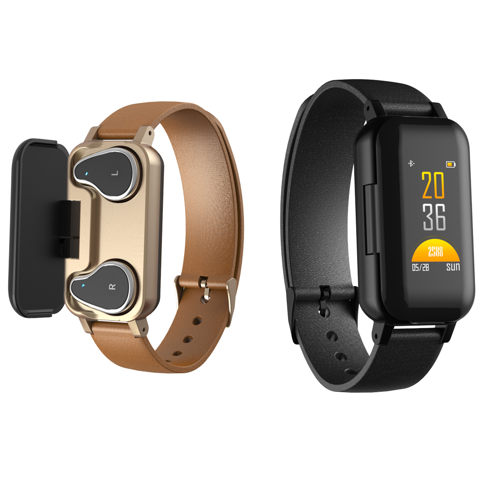 Time Owner <font><b>T89</b></font> <font><b>TWS</b></font> Smart Binaural Bluetooth Headphones Fitness Bracelet Heart Rate Monitor Smart Wristband Sport Watch Men Women image