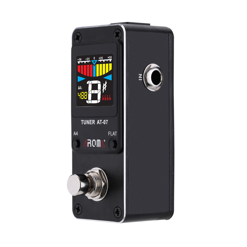 AROMA AT-07 Mini Foot Guitar Tuner Effect Pedal Guitarra Chromatic Tuning Metal Shell HD Display For STAGE And STUDIO sports foot pedal at for subaru xv 2012