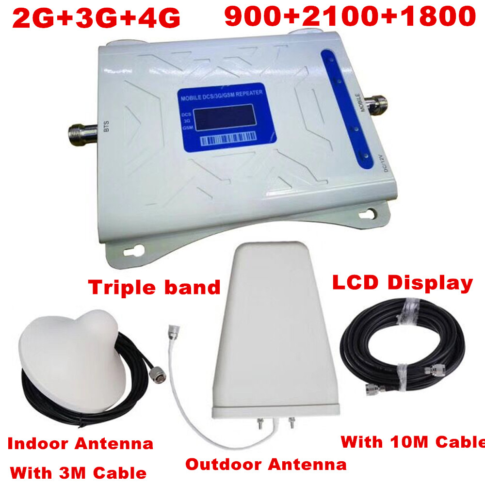 Tri Band Mobile Signal Repeater 2G 3G 4G GSM 900/DCS LTE 1800/WCDMA UMTS 2100MHz Cellular Signal Booster Amplifier Set