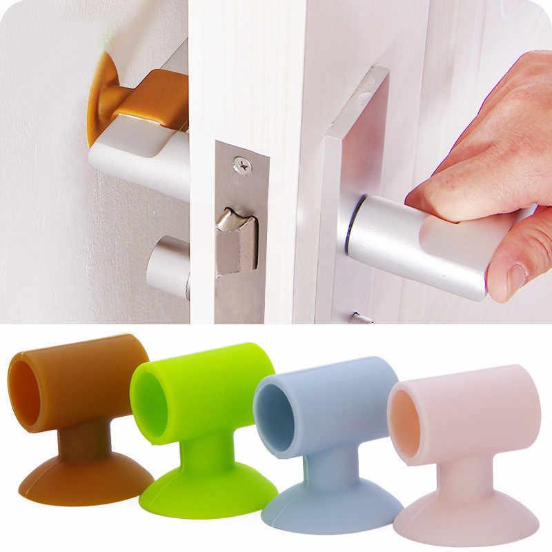 ซิลิโคนประตูล็อคประตูป้องกันประตู Handle Lock Suction Cup สำหรับ Anti - Collision เงียบจับยาง Fender Wall decor