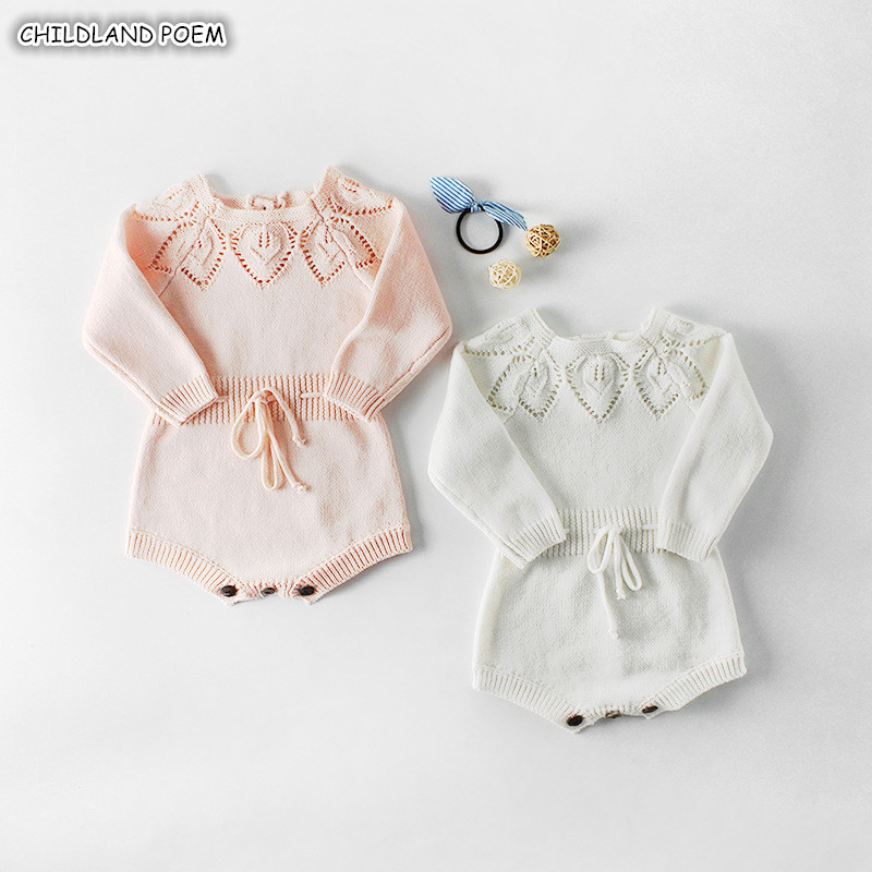 Knitted Baby Clothes Newborn Baby Girl   Romper   Cotton Long Sleeve Infant Baby   Rompers   For Girls Jumpsuit Baby Christmas Clothes