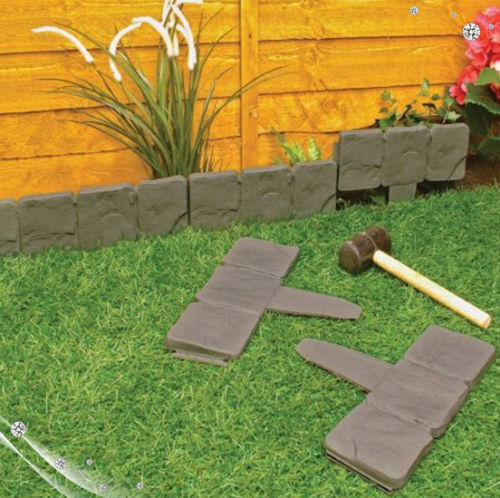 Lakeland Cobbled Stone Effect Plastic Garden Edging Hammer In Lawn Tree  Border