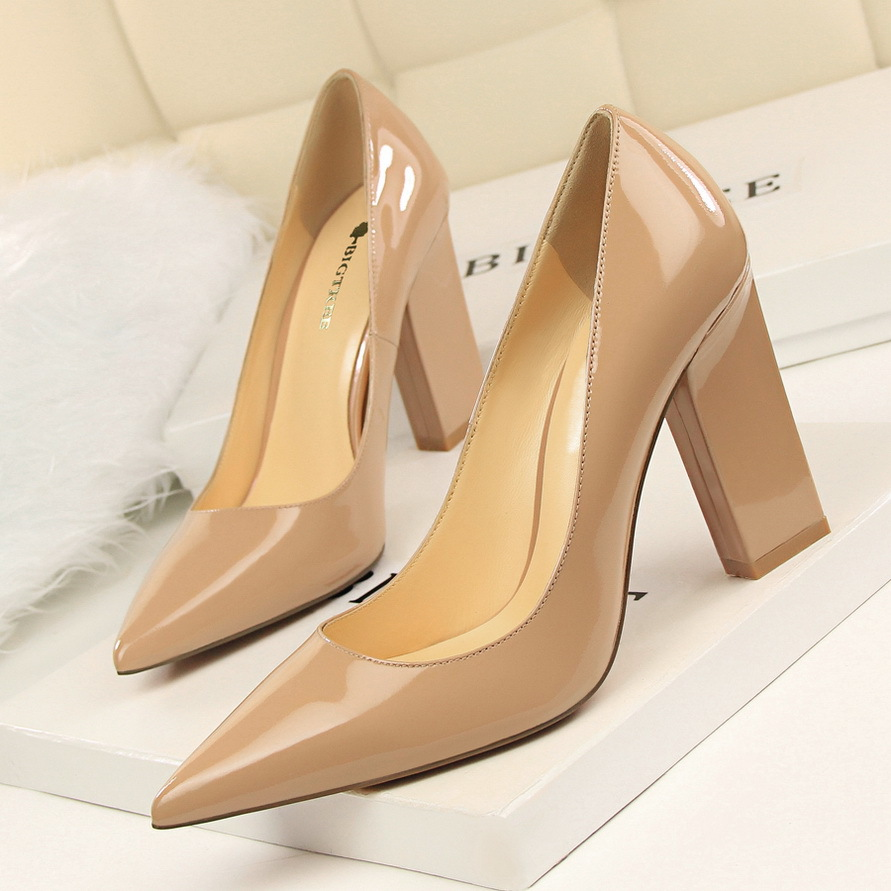 New Women Spring Pumps Fashion Tick Heeled High High Shoes Shallow Pointed Sexy Satin Silk Flock Concise Single Shoes G5239-1 new 2017 spring summer women shoes pointed toe high quality brand fashion womens flats ladies plus size 41 sweet flock t179
