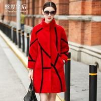 Manteau femme 2017ใหม่สีแดงยาวชุดขนสัตว์ขนสัตว์จริงเสื้อฤดูหนาวหนาคอจีนที่มีคุณภาพสูงผู้หญิงขนแกะ...
