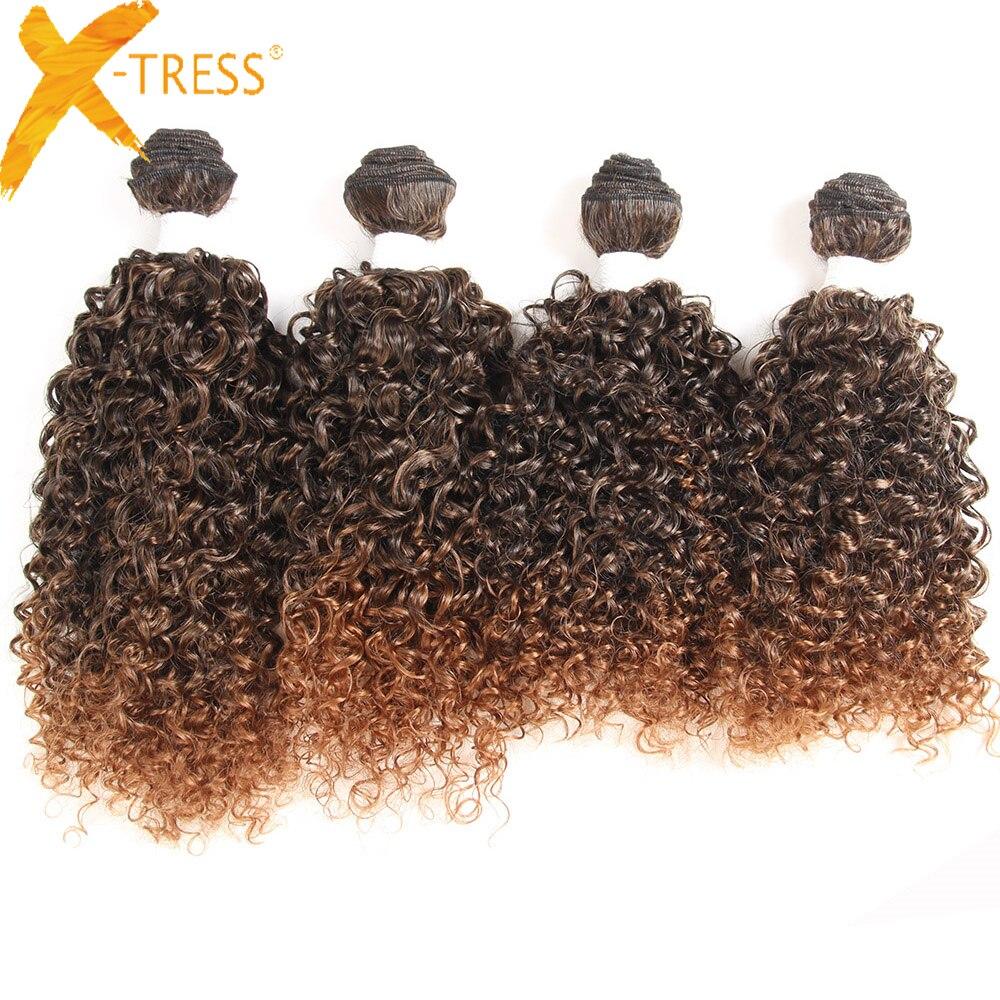 X-TRESS sintético Jerry Curl Hair teje 16 '' 4 unids / pack - Cabello sintético
