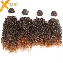X-TRESS sintético Jerry Curl Hair teje 16 '' 4 unids / pack Extensiones de cabello Kanekalon Omber Color T1B / 30 paquetes de cabello Ofertas One Pack