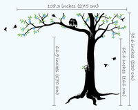 Spring Tree Wall Decals Blossoms Large 230cm Tall Tree with cute owls and birds Wall Stickers For Kids Room Baby Nursery JW212