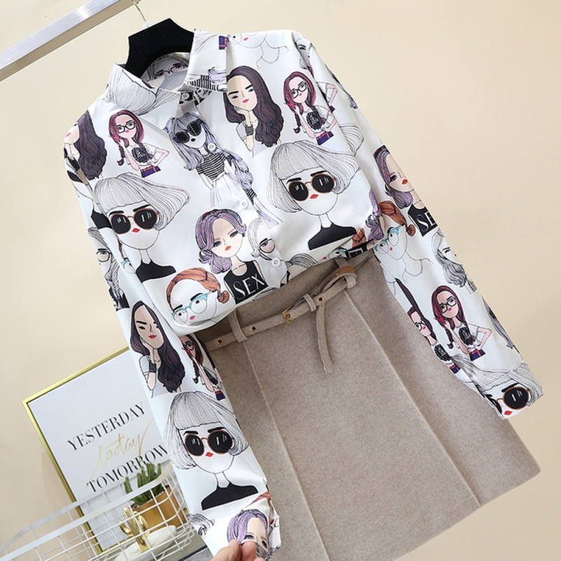 New Style Summer Women Floral Print Chiffon Shirt Long Sleeve Loose Blouse Casual Lapel Tops Women Retro Tops