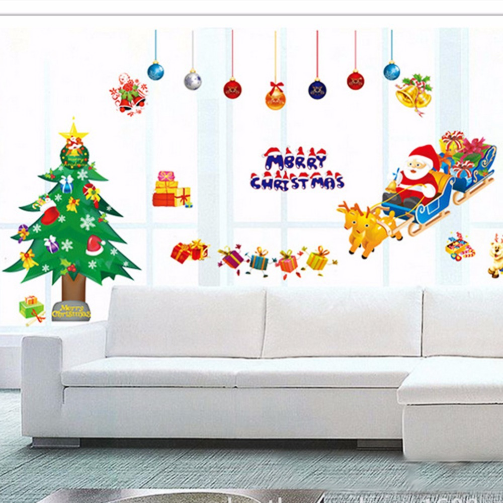 wall sticker decor picture more detailed picture about merry merry christmas wall stickers decoration santa claus gifts tree window wall stickers removable wall decals xmas