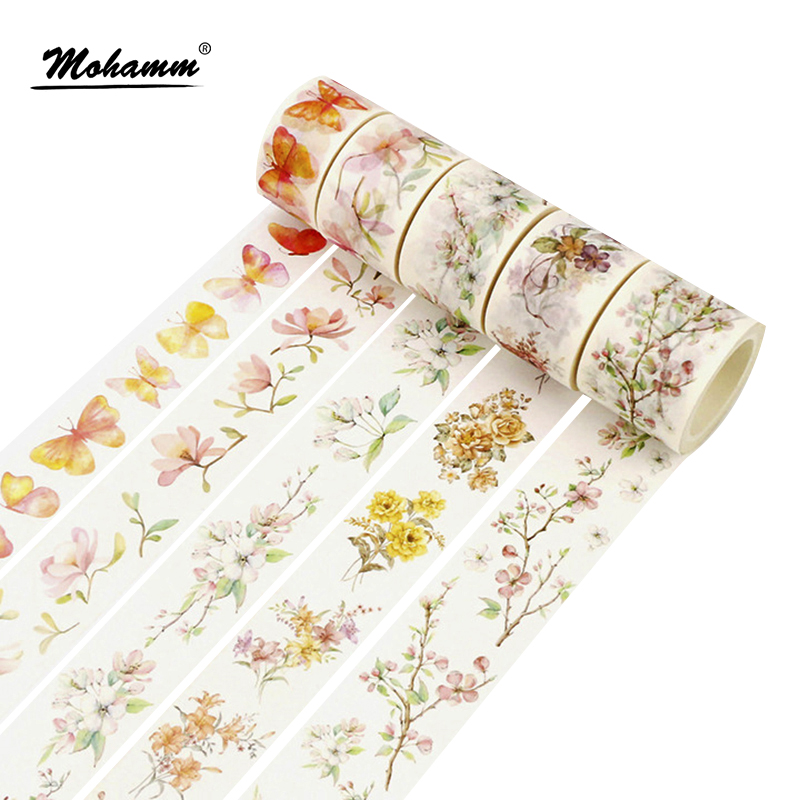 Cute Kawaii Flowers Butterfly Leaves Decorative Tape Adhesive Masking Washi Tape Diy Scrapbooking School Office Supply 1 5cm 7m flowers fox steamer mushroom decorative washi tape scotch diy scrapbooking masking craft tape school office supply