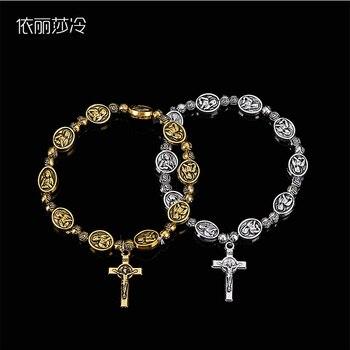 Elastic alloy fashion saint little Delan bracelet, Jesus rosary bracelet sacred center compassionate small Deran saint religious