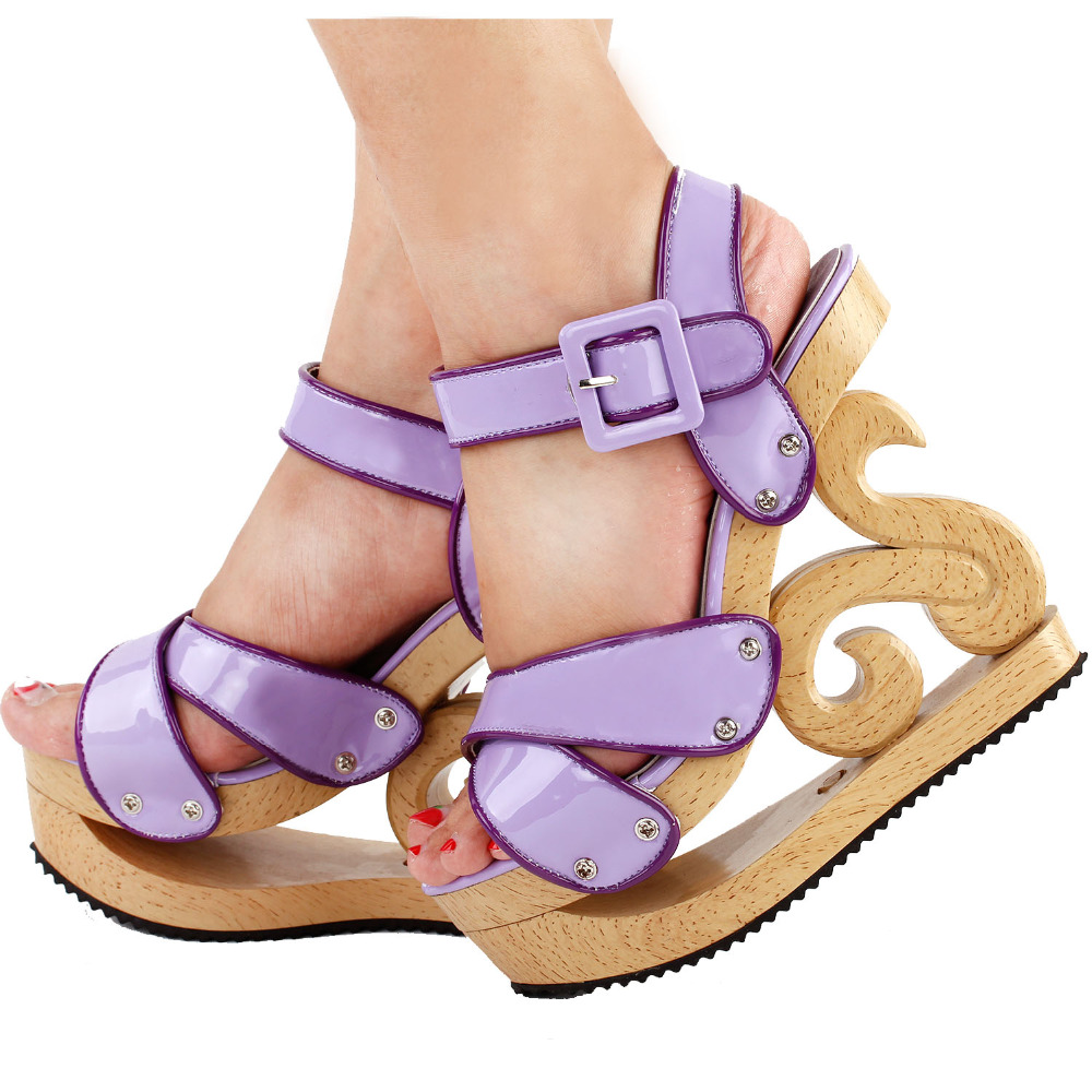 LF30839 Show Story Purple Two Tone Woven Effect Buckle Slingback Wooden Look Wedges Platform Clogs Sandals