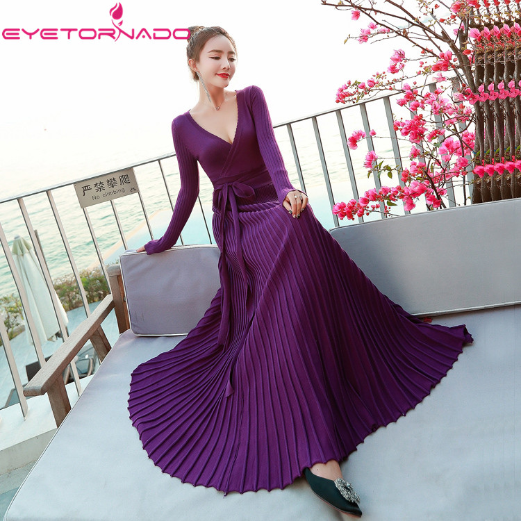 Women sexy V Neck knitted sweater dress Purple Long Casual Work Knitting Pleated Beach Maxi Dress Jumper Jersey High end 9143