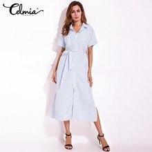 FLORHO Striped Bow Tie Waist L ong font b Dresses b font Women Summer Shor t