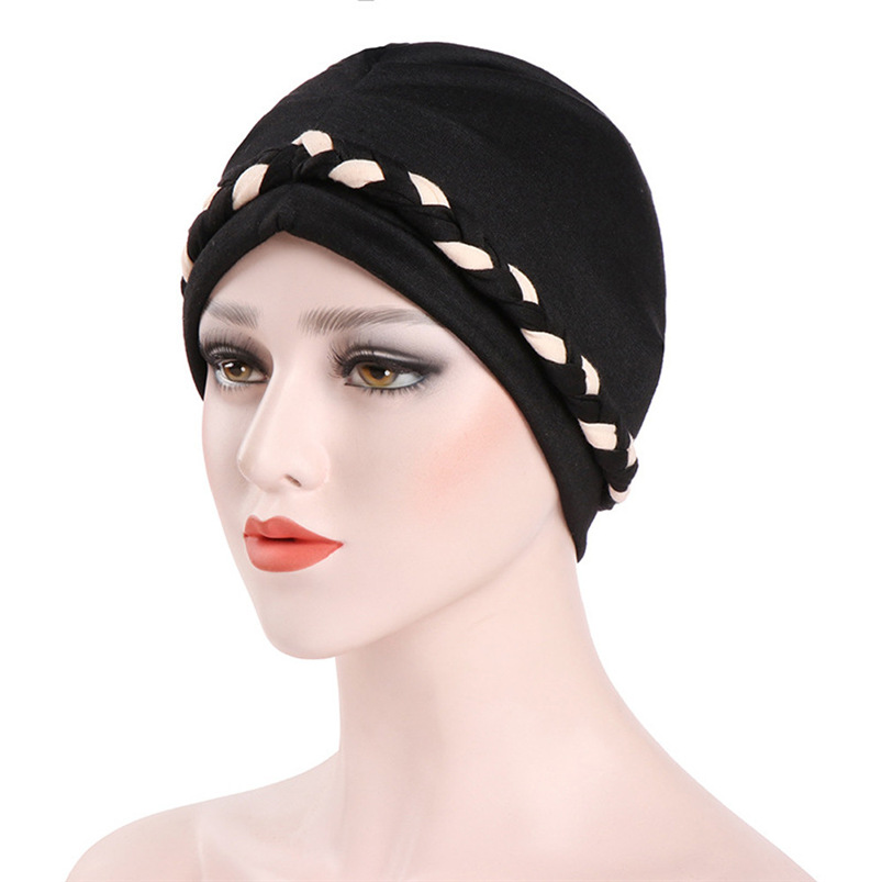 Women India Hat Muslim Ruffle Cancer Chemo Hat Cotton Blend Beanie Scarf Turban Head Wrap Fitted Cap #A23 imucci 13 colors solid muslim turban cap women elastic beanies hat bandanas big satin bonnet indian women turban black red